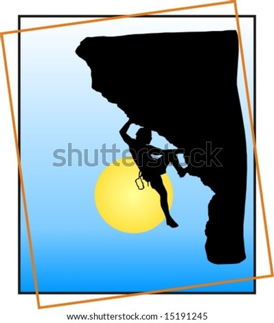 mountain climber vector with frame - stock vector