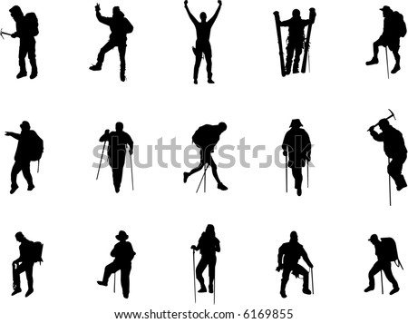 mountain climbing and hiking silhouettes - stock vector