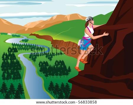 Mountain climbing and landscape vector - stock vector