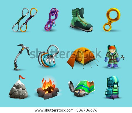 Mountain climbing equipment and tools 3d icons set with ice axe and  harness abstract isolated vector illustration - stock vector