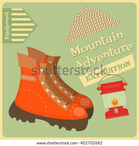 Mountain Climbing Placard in Retro Style. Camping and Hiking Elements. Climbing Shoes. Vector Illustration.
