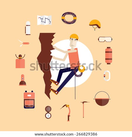 Mountain climbing. Rock climber. Extreme sport. Icons set. Flat style vector illustration. - stock vector