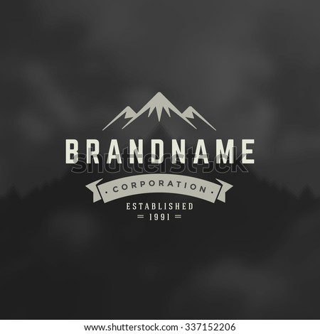 Mountain Design Element in Vintage Style for Logotype, Label, Badge and other design. Adventure retro vector illustration. - stock vector