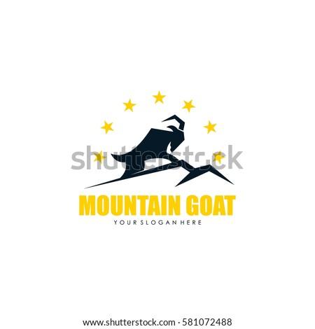 Mountain Goat Logo Design Template Stock Vector 581072488 ...