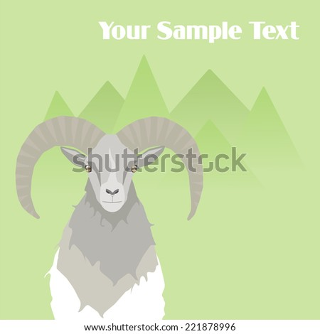 Mountain goat on nature background. Sample text. - stock vector