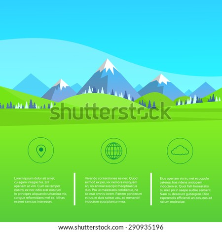 Mountain Green Grass Landscape Forest Park Blue Sky Flat Vector Illustration - stock vector