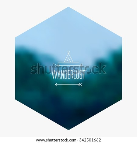 Mountain hipster Background. Blurred Landscape. - stock vector