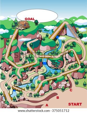 mountain hut maze - stock vector
