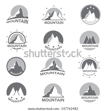 Mountain Icons Set - Isolated On White Background - Vector Illustration, Graphic Design Editable For Your Design.  - stock vector