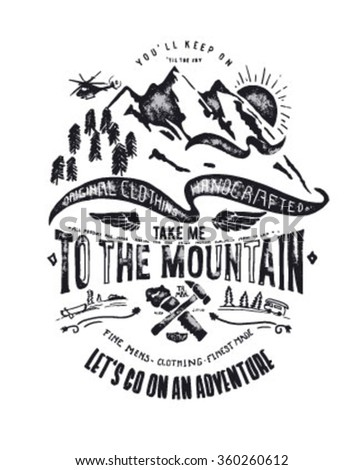 mountain illustration with type, icon - stock vector