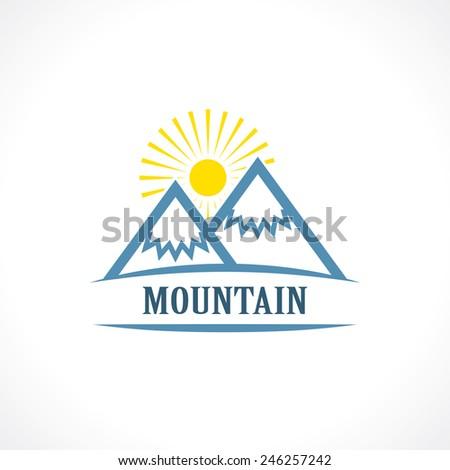 mountain label - stock vector