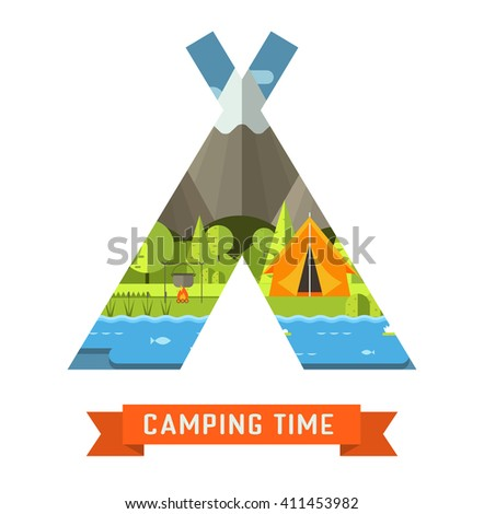 Mountain lake campsite place in tourist tent shape. Forest hiking travel landscape in concept tepee contour. Summer camp postcard vector illustration. Camping time adventure invitation template. - stock vector