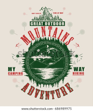 Mountain lake poster and t-shirt design. Mystical symbol of tourism, camping, travel