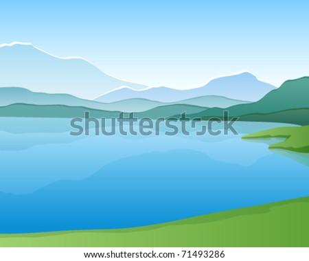 Mountain lake. Vector landscape - stock vector