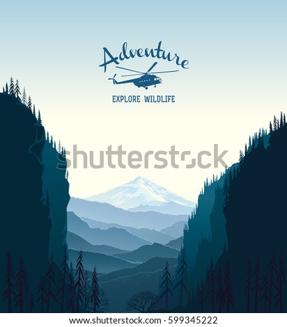 Mountain landscape and design element with silhouette helicopter.