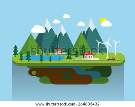 Mountain landscape eco village  flat illustration. Vector eps10. - stock vector