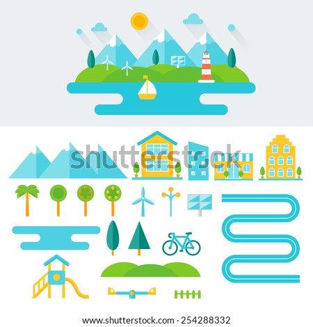 Mountain Landscape Illustration and Set of Elements. Eco-friendly Lifestyle and Sustainable Living Concept. Flat Design  - stock vector