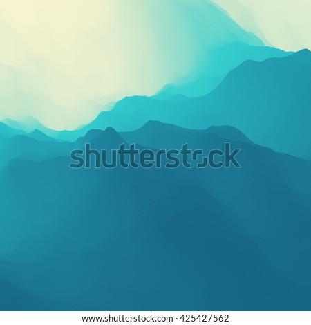 Mountain Landscape. Mountainous Terrain. Vector Illustration. Abstract Background. - stock vector