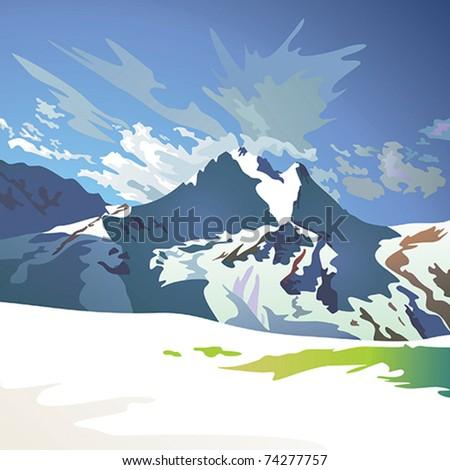 Mountain landscape vector - stock vector