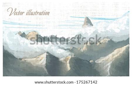 Mountain landscape. Watercolor imitation in vector - stock vector