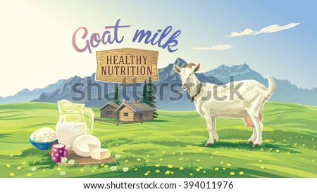 Mountain landscape with goat and set dairy product with village in background. Vector illustration. - stock vector