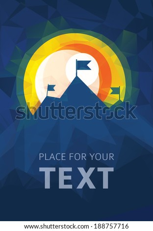 Mountain landscape with sun and flags on mountain peaks, overcoming difficulties, goal achievement, winning strategy with focus on results. Low-poly style illustration with plenty space for your text  - stock vector