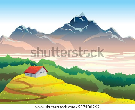 Mountain landscape with yellow meadow, forest and house. Natural summer vector illustration. Wilderness life.