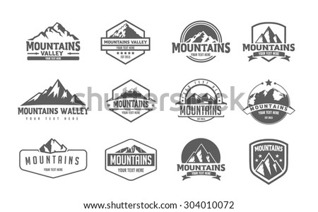Mountain logo emblem set with type design - stock vector