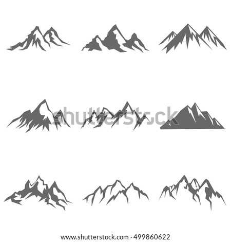 Mountain object in flat silhouette style. Vector illustration