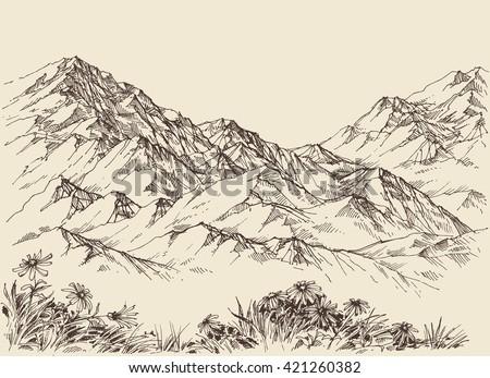 Mountain peaks, altitude landscape - stock vector