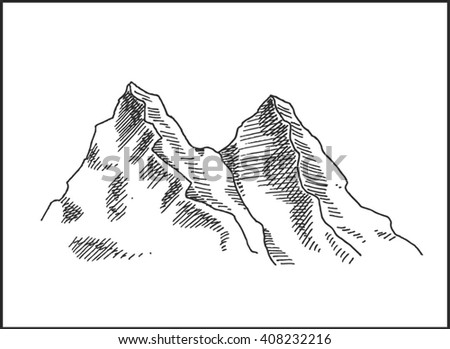 Mountain peaks landscape scenery vector illustration, for extreme climbing sport, adventure travel and expedition design