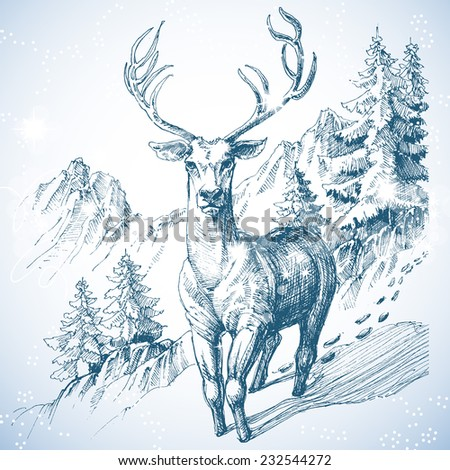 Mountain pine tree forest and deer sketch - stock vector
