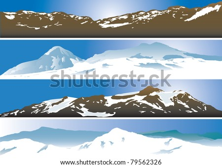 Mountain range background. Vector illustration - stock vector