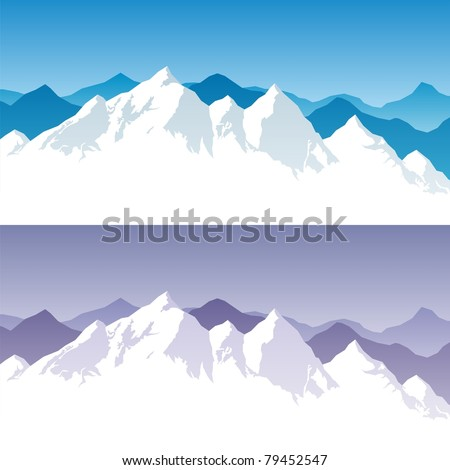 Mountain Range: Background with snowy mountain range in 2 color versions. You can extend the white part below the peaks, and use it for typing text. No transparency used. Basic gradients used. - stock vector