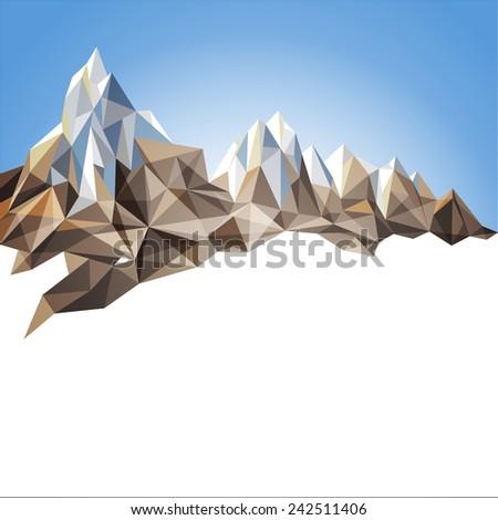 Mountain range in origami style - stock vector