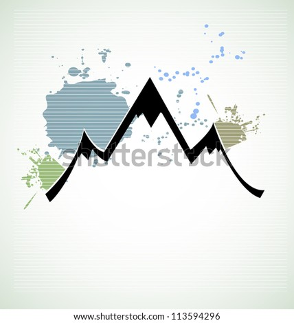 mountain range landmark urban background - stock vector