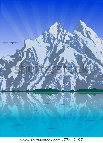 Mountain reflection on the water. Vector format - stock vector