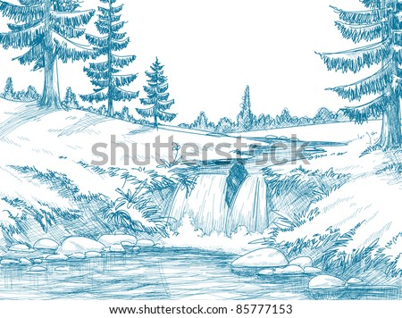 Mountains And Rivers Drawing Mountain River Pencil Drawing