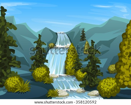 mountain river with waterfall. Nature background with trees . Vector illustration - stock vector