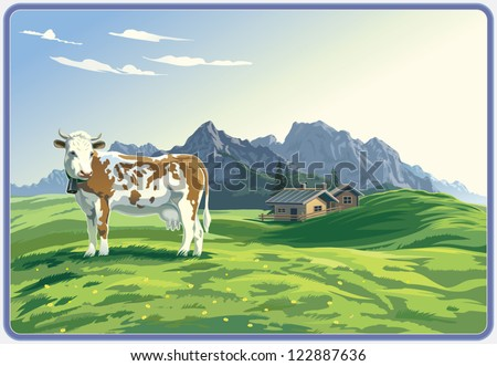 Mountain rural landscape with cow. - stock vector