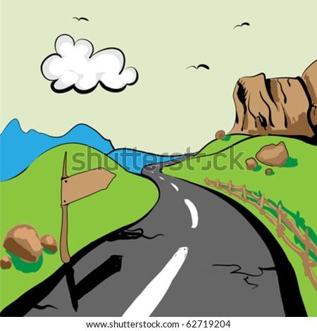 mountain  scene, vector illustration - stock vector