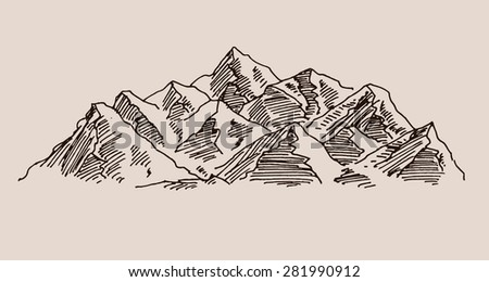 Mountain scenery sketch hand drawing, in engraving etching style, for extreme climbing sport, nature landscapes, adventure travel  and  tourism design