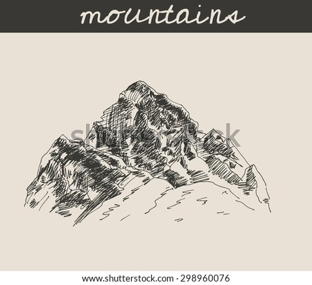 Mountain scenery sketch hand drawing, in etching style, for extreme climbing sport, adventure travel  design