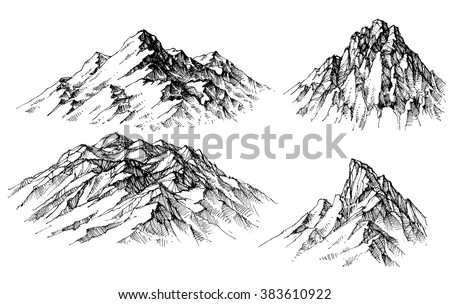 Mountain set. Isolated mountain peaks vector - stock vector