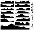 mountain set vector - stock vector