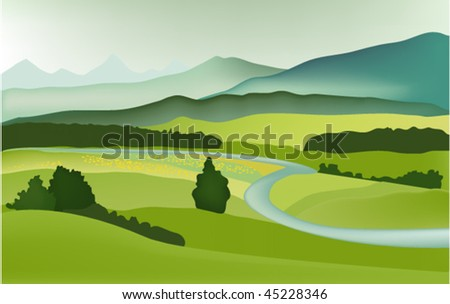 Mountain spring landscape