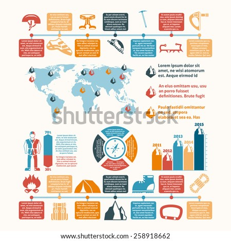 Mountain summit ascent records world map and climbing equipment development infographic chart layout presentation abstract vector illustration - stock vector