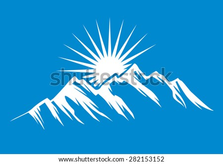 Mountain vector icon isolated on blue background - stylized image. - stock vector