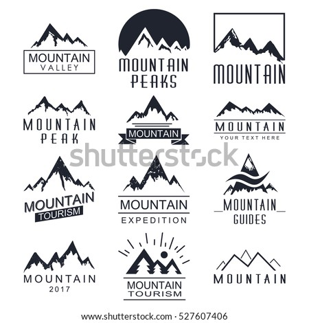 Mountain vector icons set. Logo outdoor adventure tourism and black design elements on a white background. Expedition, hiking, and camping labels.