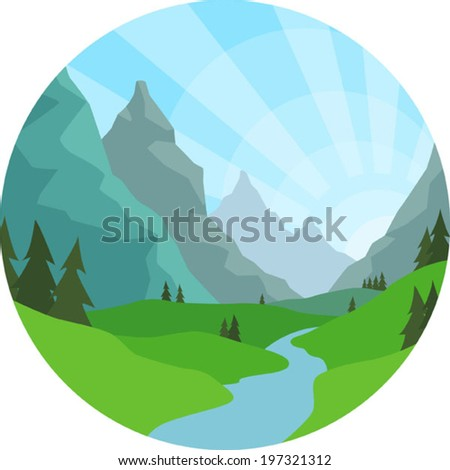 Mountain View Background - stock vector